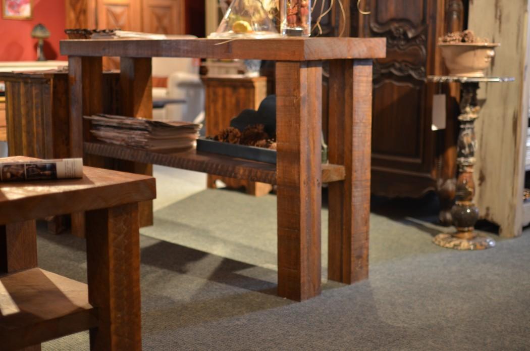 Meubles sur mesure en bois massif et bois ancien for Table de salon rustique