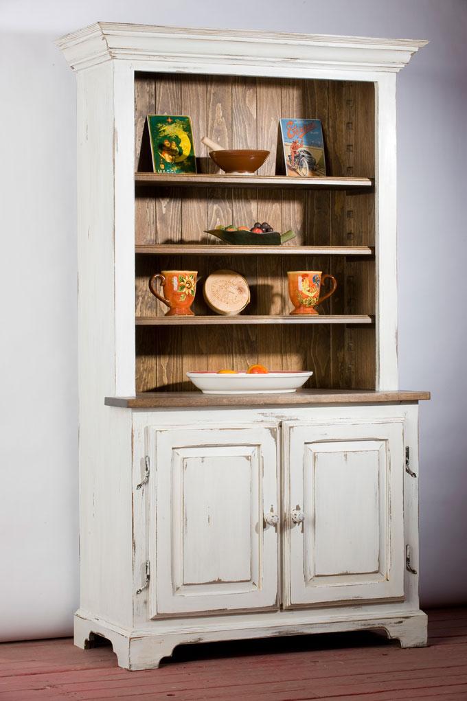 Buffet huche ouverte en bois de pin caseine blanc antique for Buffet de cuisine antique