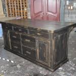 Ilot de cuisine / Comptoir bar fabriqué en bois brut de pin massif.